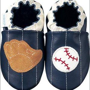Robeez Soft Sole Slip On Infant Shoe Baseball Navy
